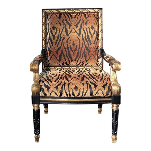 Tiger Pattern Empire Style Chair For Sale