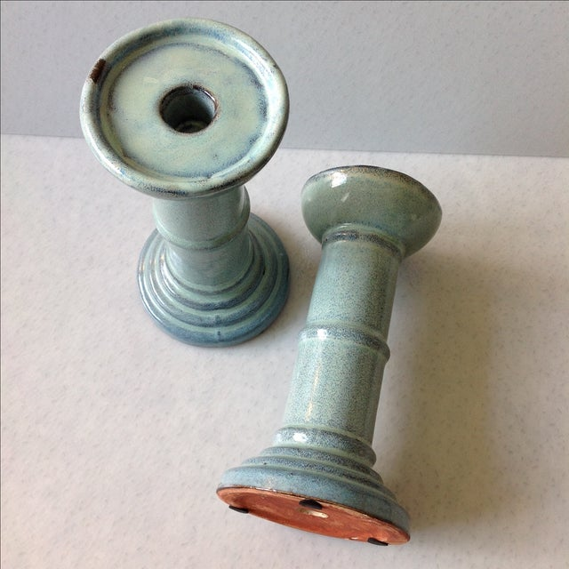Sea Foam Pottery Candlesticks - A Pair - Image 9 of 11
