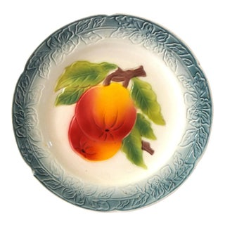 19th Century Antique St Clement French Majolica Plate With Peaches For Sale