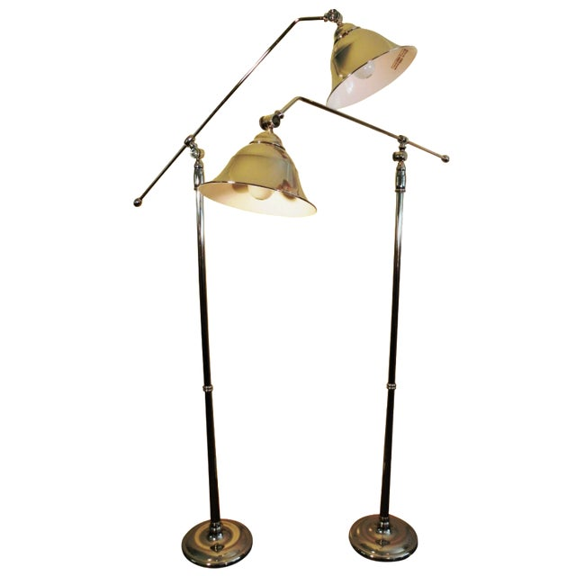 Vintage Swing-Arm Chrome Floor Lamps - A Pair - Image 1 of 9