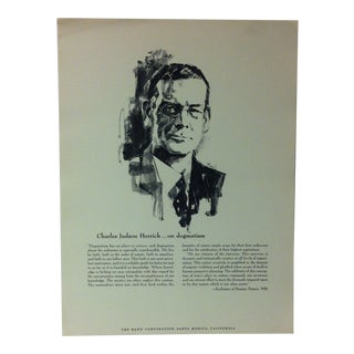 """1962 """"Charles Judson Herrick - on Dogmatism"""" The Rand Corporation Famous People in History Print For Sale"""