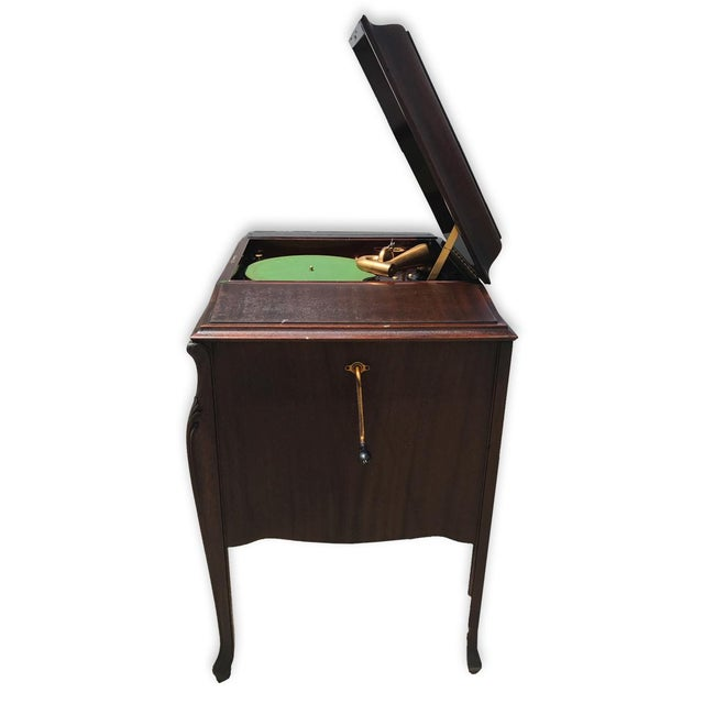 Antique Working Victor Victrola Humpback Console Mahogany Phonograph Record Player - Image 4 of 10