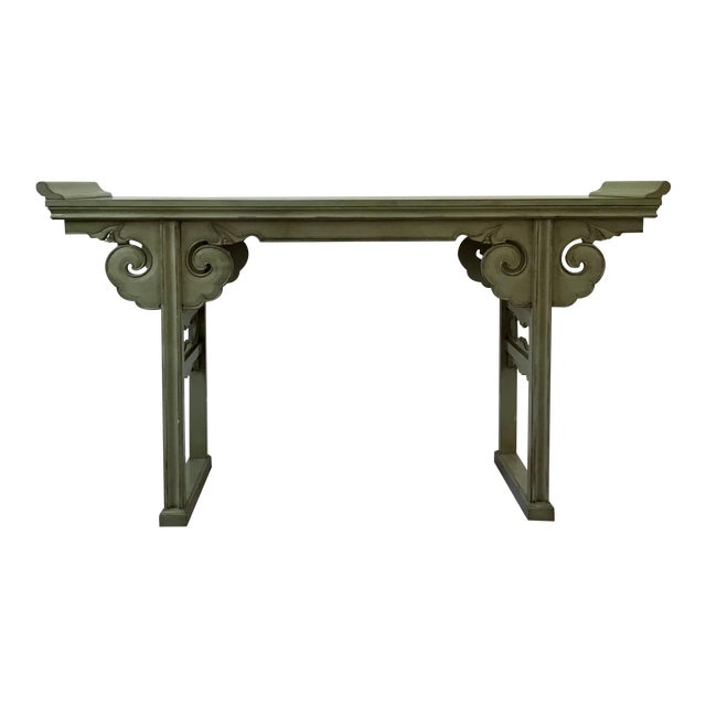20th Century Asian Style Jade Wood Altar Console Table For Sale
