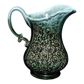 Hull Green Glazed Floral Pitcher