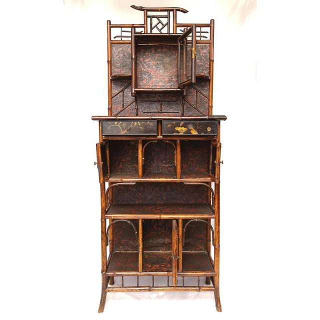 Brown English 19th Century English Bamboo Cabinet For Sale - Image 8 of 9