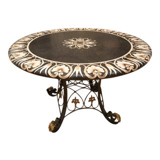 Decorative Maitland-Smith Round Dining Table With Iron and Bronze Base For Sale
