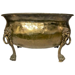 Large Antique Brass Log Bin With Lion Mask Handles For Sale