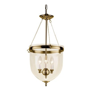 3 Candle Polished Brass Lantern With Glass For Sale