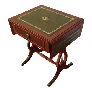 Classic English Leather Top Cherry Wood Side Table With Folding Leaves For Sale