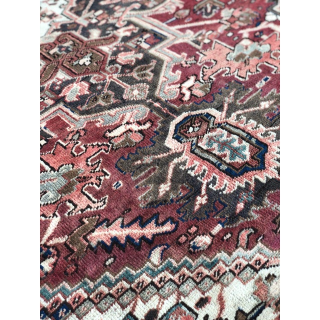 """1930s 1930's Vintage Persian Heriz Large Area Rug 9'2""""x10'7"""" For Sale - Image 5 of 13"""