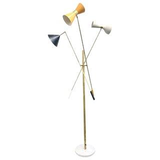 Multi-Color Italian Three-Arm Floor Lamp, 'Triennale' Style For Sale