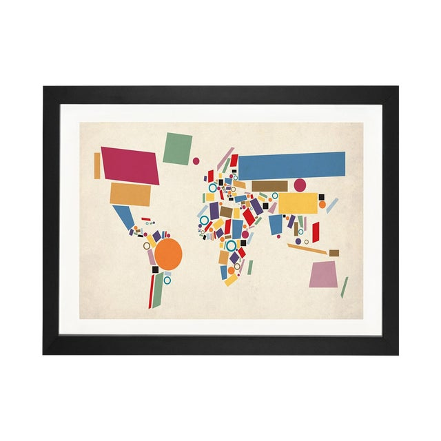 Abstract Geometric World Map by Michael Tompsett - Image 1 of 3