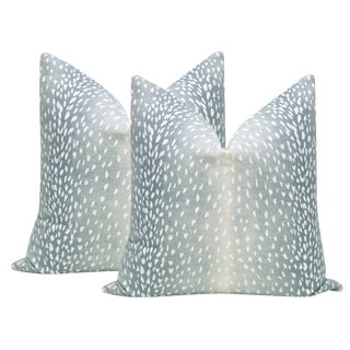 "22"" Spa Blue Antelope Linen Print Pillows - a Pair For Sale"