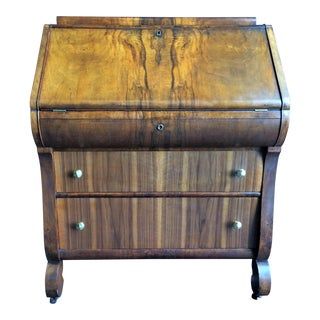 Antique Empire Walnut Bureau Slant Front Secretary Desk For Sale