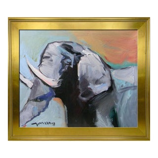 Jose Trujillo Impressionist Oil Painting of Elephant For Sale