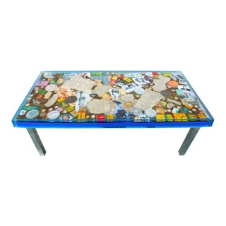 Vintage Americana Collage Coffee Table For Sale