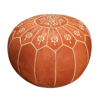 Arch Pouf Ottoman by Mpw Plaza, Light Tan (Unstuffed) Moroccan Leather Pouf Ottoman For Sale