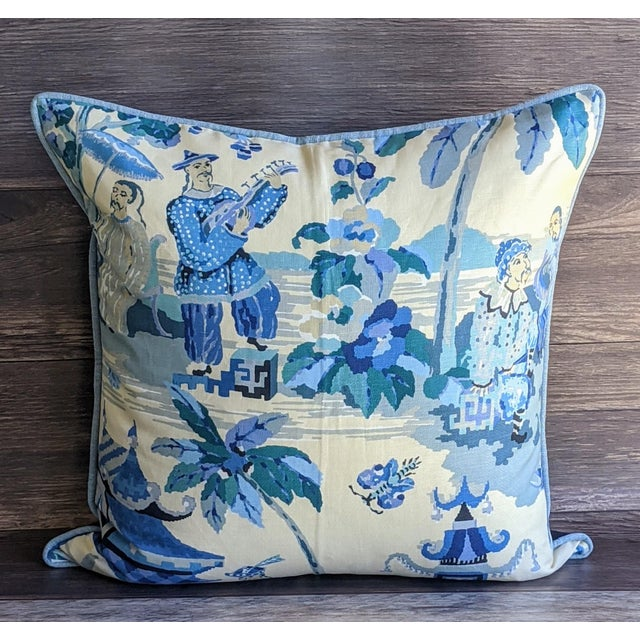 Asian Kravet Xian by Brunschwig & Fils Chinoiserie Pillow Cover For Sale - Image 3 of 4
