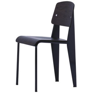 Jean Prouvé Standard Chair in Dark Oak and Black Metal for Vitra