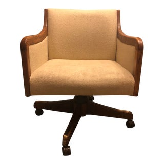 1980's Mid-Century Styled Solid Oak Swivel Chair For Sale