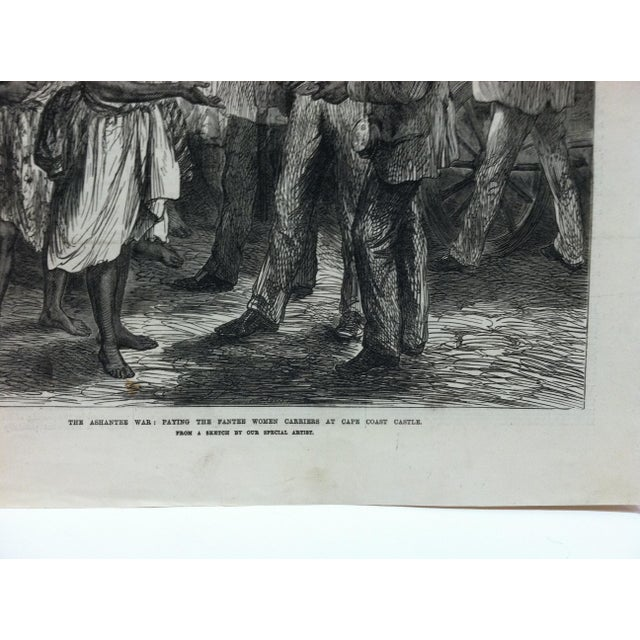 """1874 Antique Illustrated London News """"The Ashantee War: Paying the Fantee Women Carriers at Cape Coast Castle"""" Print For Sale - Image 4 of 5"""