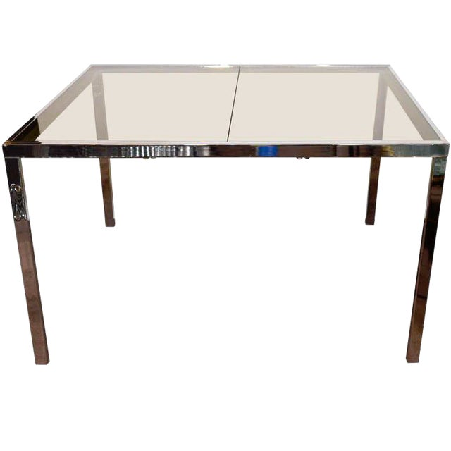 1970s Chrome and Grey Glass Extension Dining Table by Milo Baughman for Dia For Sale