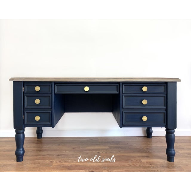 Nautical Navy Blue Executive Desk With Driftwood Top For Sale - Image 9 of 9