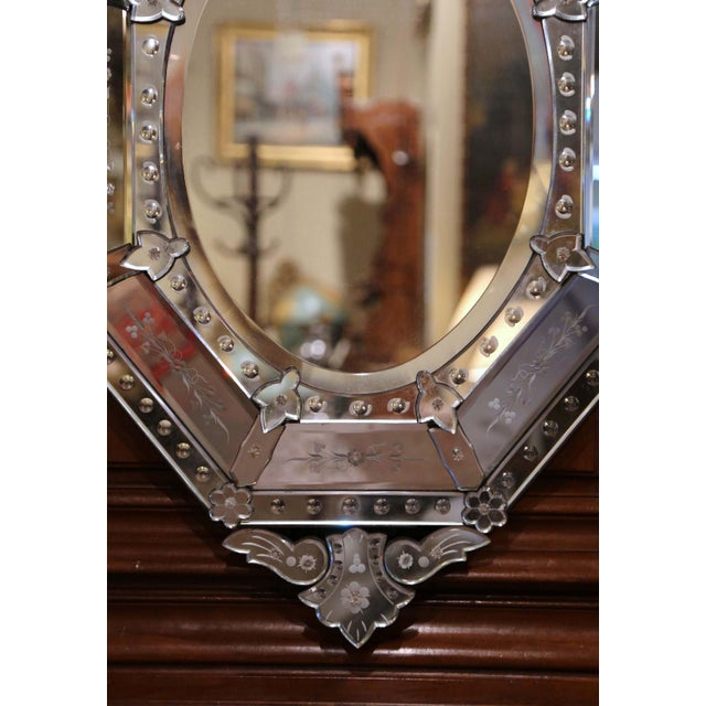 Glass Early 20th Century Italian Venetian Octagonal Mirror With Painted Floral Etching For Sale - Image 7 of 9
