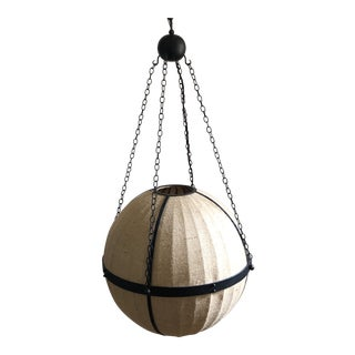 Currey and Company Burlap and Iron Orb Chandelier For Sale