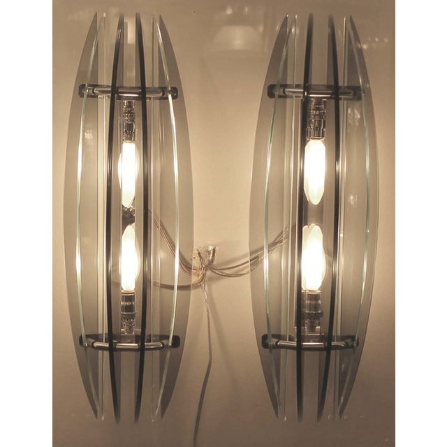 Mid-Century Modern Large Pair of Italian Veca Bi-Color Glass Sconces For Sale - Image 3 of 5