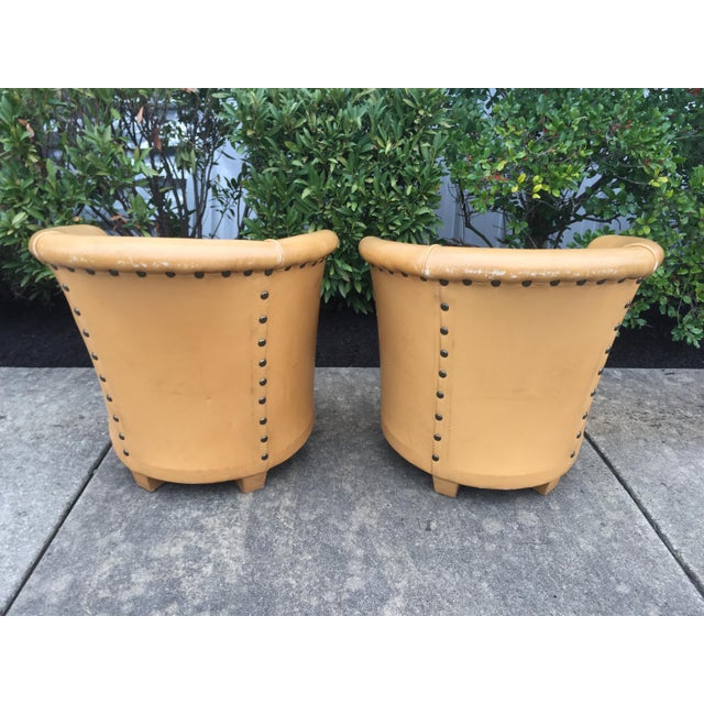 Vintage Spanish Barrel Back Leather Chairs- a Pair For Sale - Image 9 of 13