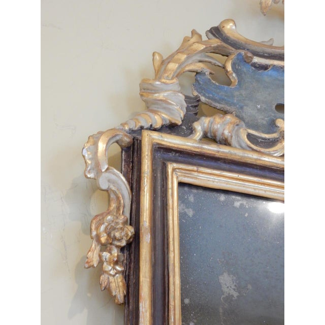 Wood Early 19th Century Italian Rococo Painted and Gilt Mirror For Sale - Image 7 of 9
