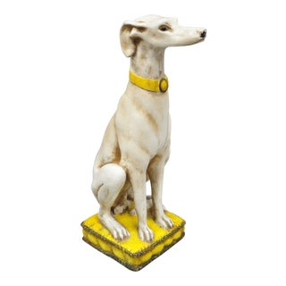 Vintage Hollywood Regency Whippet Greyhound Dog Statue on Yellow Pillow For Sale