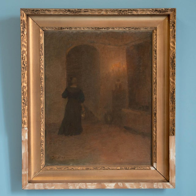 Tan Early 20th Century Antique Woman in Hallway Original Oil on Canvas Painting For Sale - Image 8 of 8