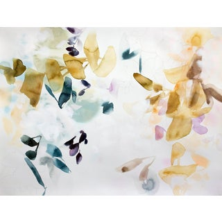 "Elise Morris ""Bright Terrain 2"" Abstract Floral Painting on Paper For Sale"