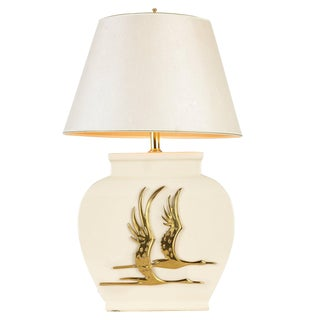 Minimalist Modern White Table Lamp With Brass Geese Detail For Sale