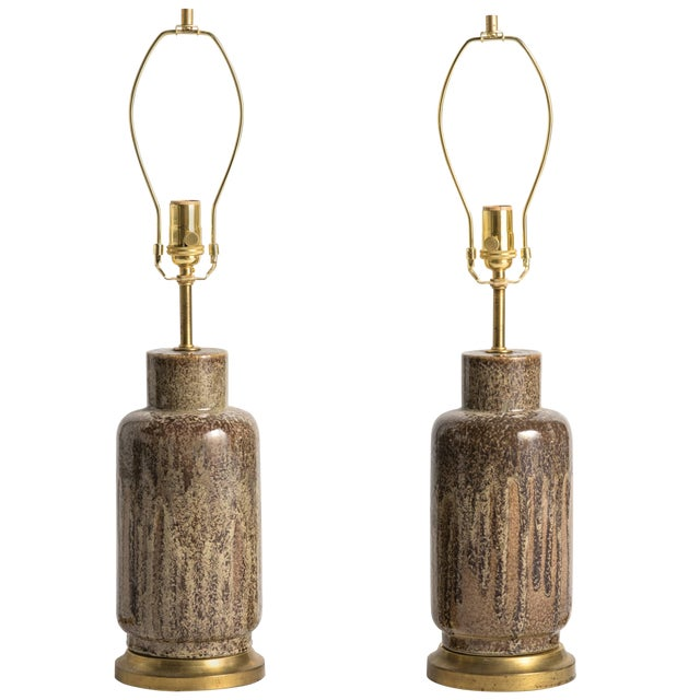 Mid-Century Modern Brown Glaze Ceramic Lamps - a Pair For Sale