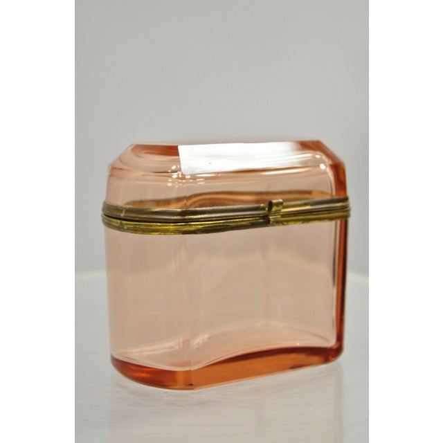 Art Deco Antique Pink Glass Trinket Jewelry Casket Box Chest Brass Hinge For Sale - Image 3 of 11