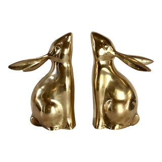 1970s Vintage Brass Rabbit Bookends – - a Pair For Sale