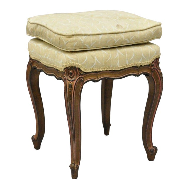 Vintage French Provincial Louis XV Style Upholstered Stool Bench For Sale