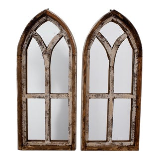 Small Arched Wood Window Frames With Mirrors - Pair For Sale