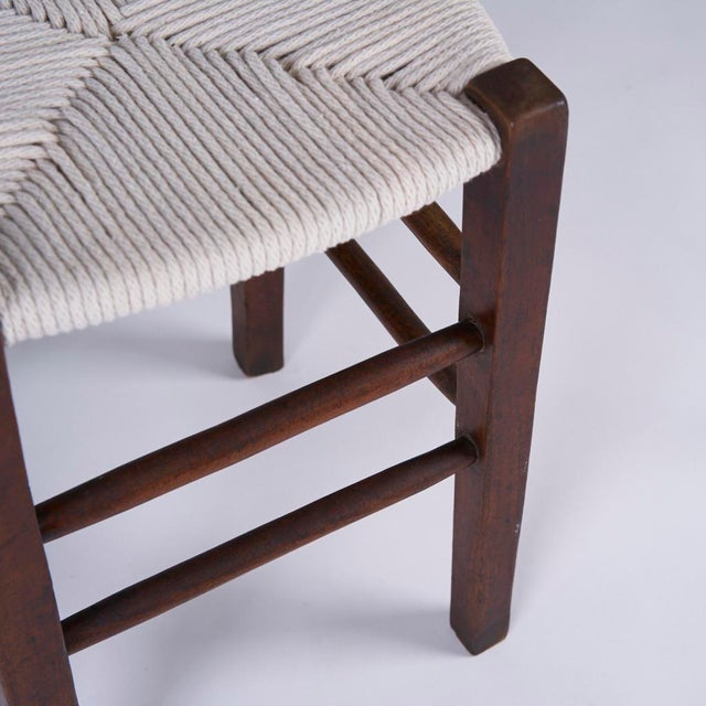 1950s Vintage Mid Century Hand Woven Stools- A Pair For Sale - Image 5 of 7