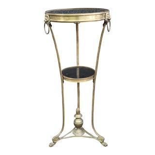 Regency Style Brass & Marble Gueridon Table For Sale