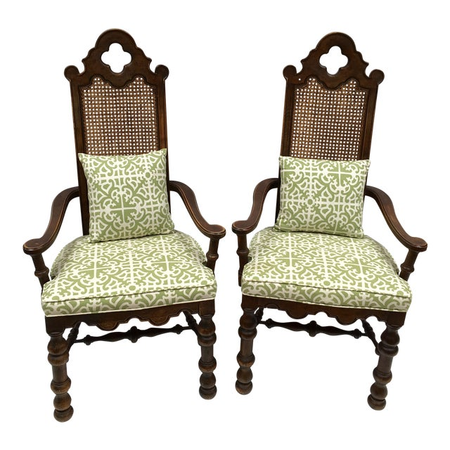 French Oak Cane Back Upholstered Chairs - A Pair - Image 1 of 11