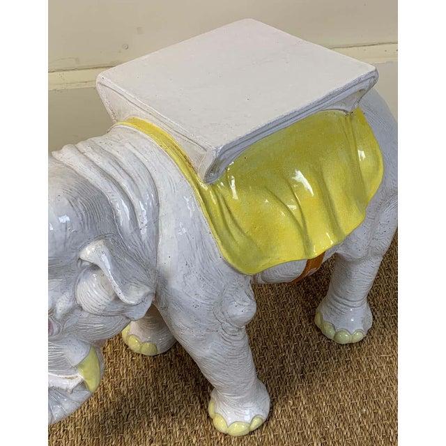 Italian Glazed Ceramic Elephant Garden Seat For Sale - Image 10 of 13