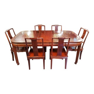 Mid 20th Century Chinese Rosewood Dining Set - 9 Pieces For Sale
