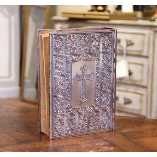 Midcentury French Holy Bible With Silver Plated Repousse Cover Dated 1960 For Sale In Dallas - Image 6 of 8
