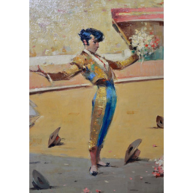 Joan Giralt-Lerin (Spain, 20th c.) Toreador Oil Painting c.1950 Fine mid 20th century oil painting by Spanish artist Joan...