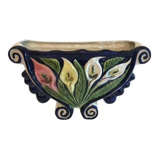 Vintage Ceramic Tulip Wall Planter For Sale