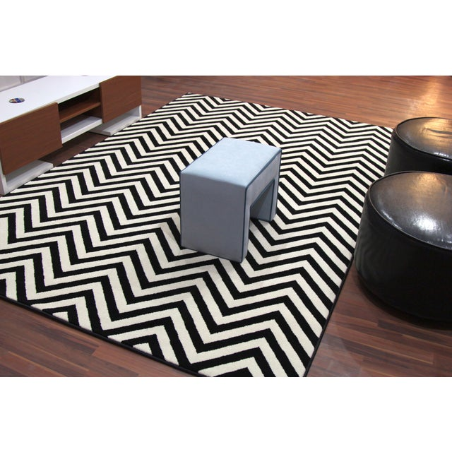 "Black and White Chevron Rug - 5'3"" x 7'4"" - Image 6 of 6"